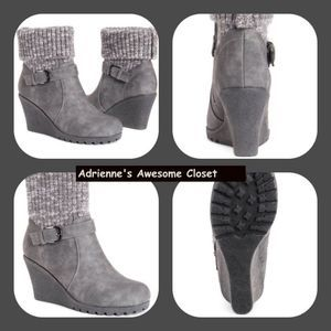 Muk Luks Gray Buckle Accent Georgia Ankle Boot